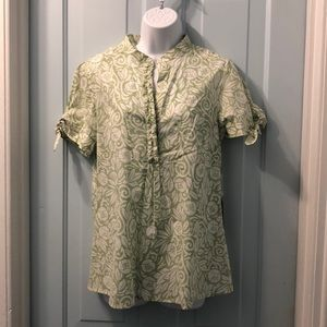 Willi Smith cotton blouse NWT green print size M